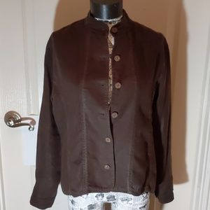 Chico's Linen Mandarin Collar Jacket